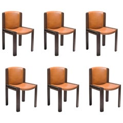 Set of Six Joe Colombo 'Chair 300' Wood and Sørensen Leather by Karakter