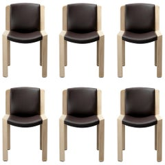 Set of Six Joe Colombo 'Chair 300' Wood and Sørensen Leather by Karakter