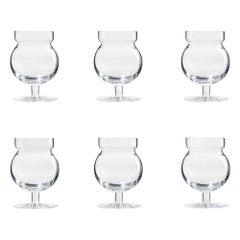 Set of Six Joe Colombo 'Sferico' Glass Tableware by Karakter