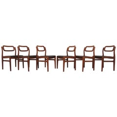 Set of Six Johannes Andersen Danish Teak Dining Chairs, circa 1960s