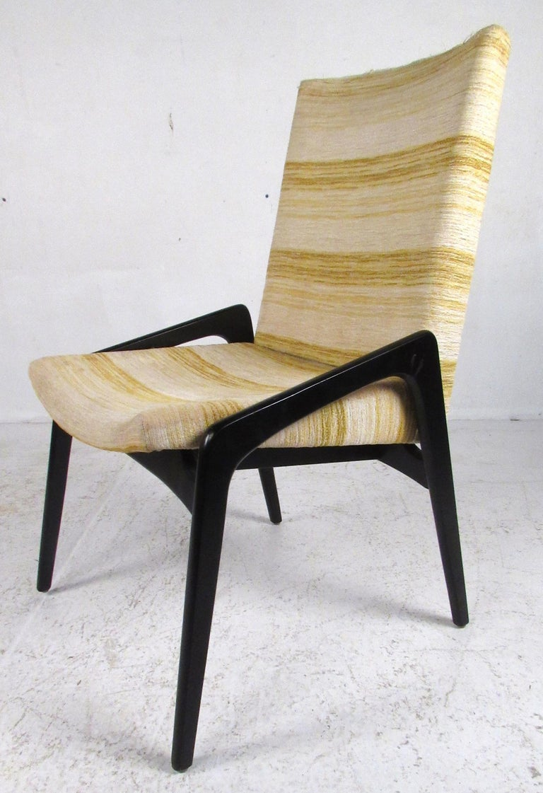 Mid Century Modern Set Of Six John Stuart Inc Black Lacquer Dining Chairs For