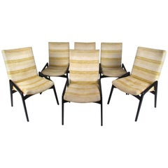 Set of Six John Stuart Inc. Black Lacquer Dining Chairs