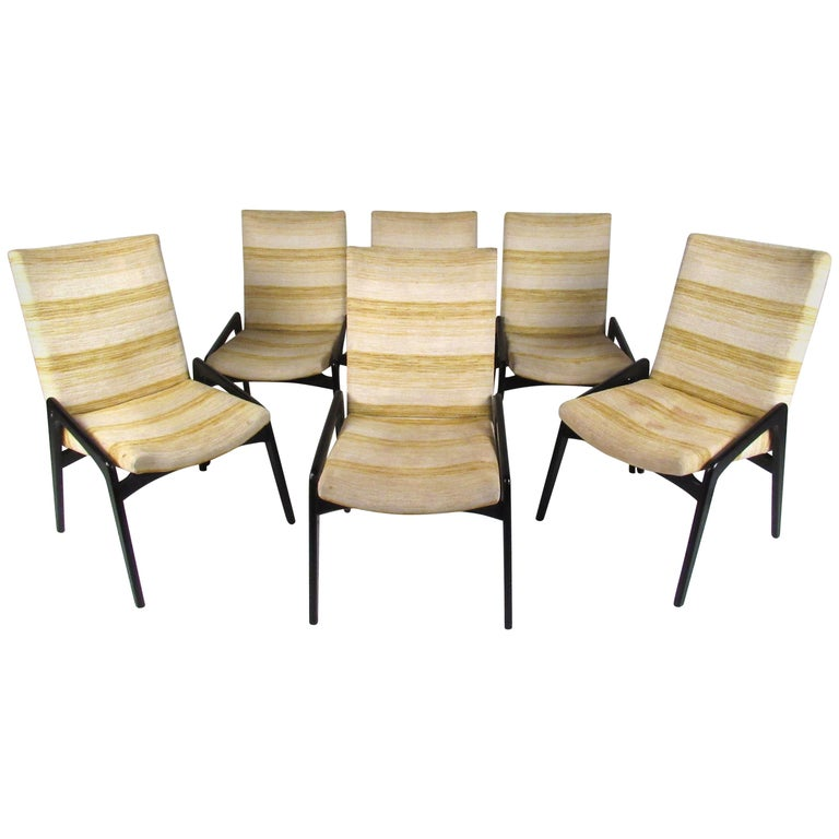 Set Of Six John Stuart Inc Black Lacquer Dining Chairs For