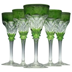 Set of Six John Walsh Cut and Engraved Green Wine Glasses, circa 1930