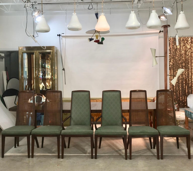 Mid-Century Modern Set of Six John Widdicomb Caned Back Dining Chairs For Sale