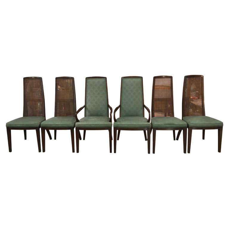 Set of Six John Widdicomb Caned Back Dining Chairs For Sale
