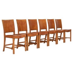 Set of Six Kaare Klint Dining Chairs with Original Leather