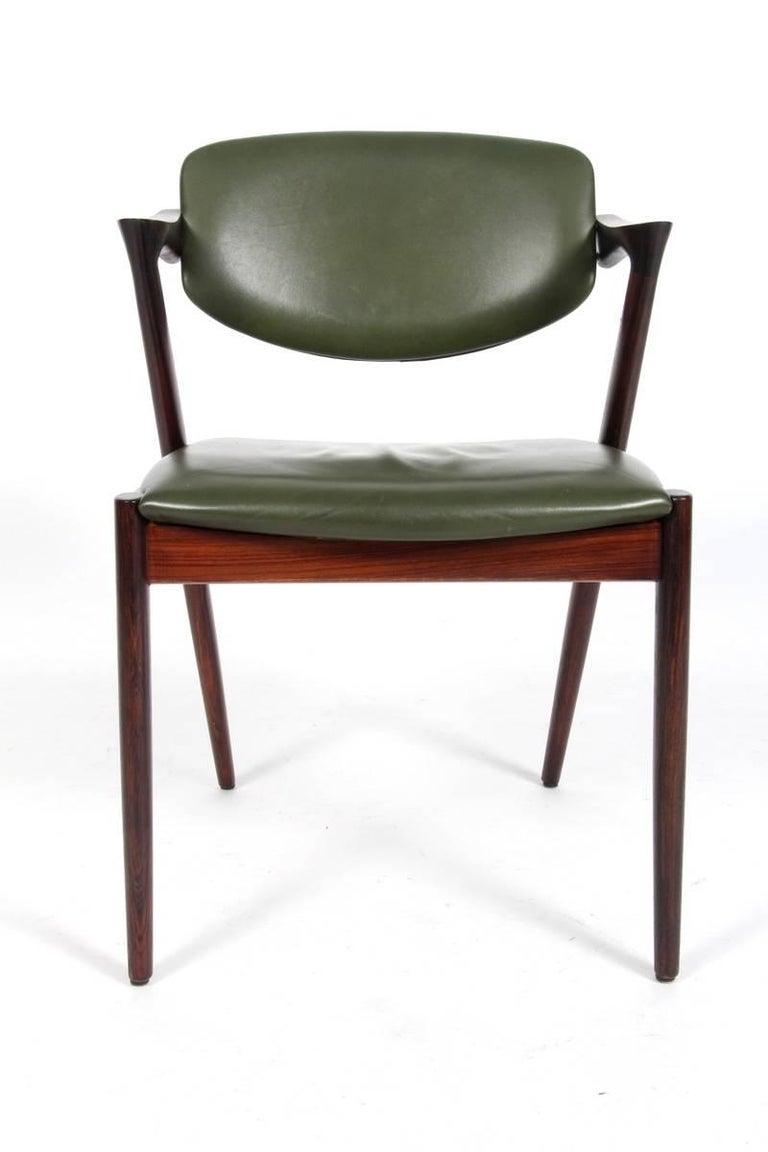 Scandinavian Modern Set of Six Kai Kristiansen Dining Chairs Model 42 For Sale