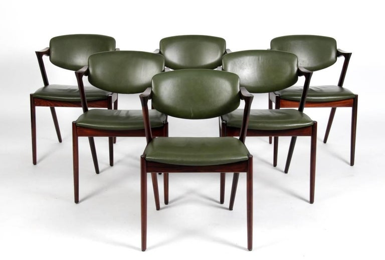 Danish Set of Six Kai Kristiansen Dining Chairs Model 42 For Sale