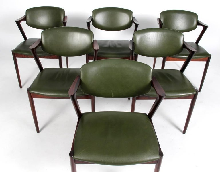 Set of Six Kai Kristiansen Dining Chairs Model 42 For Sale 1