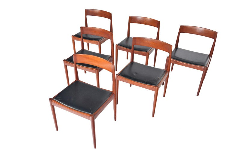 Scandinavian Modern Set of Six Kai Kristiansen for Fritz Hansen Teak Dining Chairs For Sale