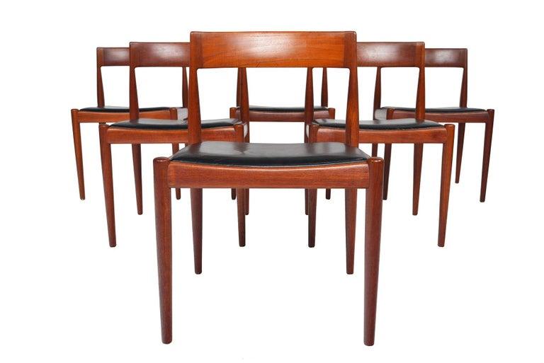 Danish Set of Six Kai Kristiansen for Fritz Hansen Teak Dining Chairs For Sale