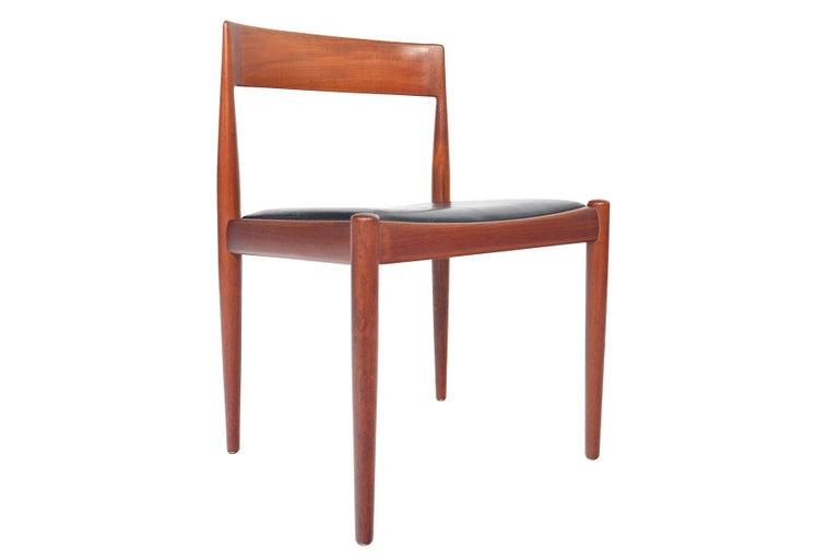 Leather Set of Six Kai Kristiansen for Fritz Hansen Teak Dining Chairs For Sale