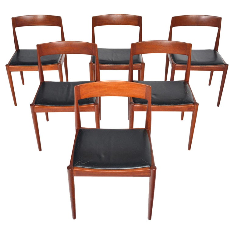 Set of Six Kai Kristiansen for Fritz Hansen Teak Dining Chairs For Sale