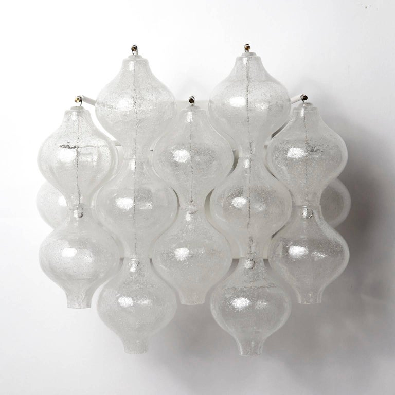 Six Kalmar 'Tulipan' Wall Lights Sconces, Glass Brass, 1970s For Sale 2