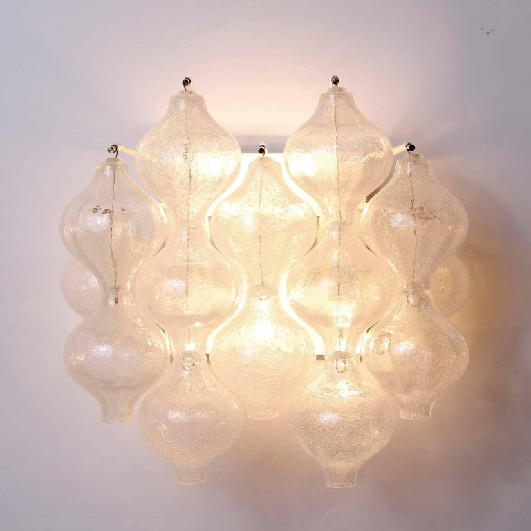 Six Kalmar 'Tulipan' Wall Lights Sconces, Glass Brass, 1970s For Sale 3