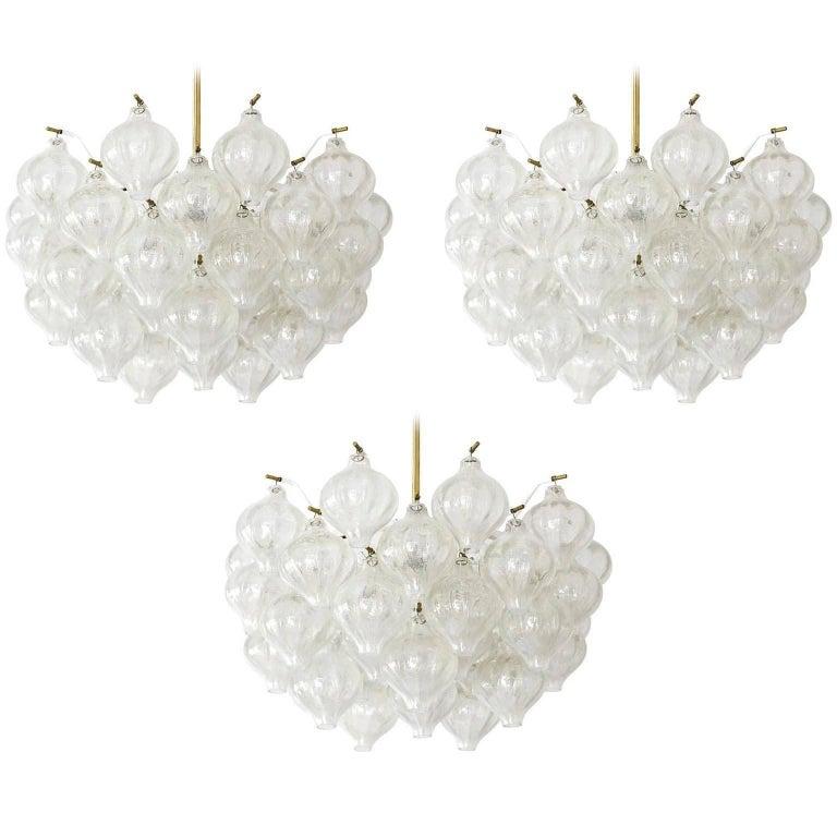 Six Kalmar 'Tulipan' Wall Lights Sconces, Glass Brass, 1970s For Sale 9