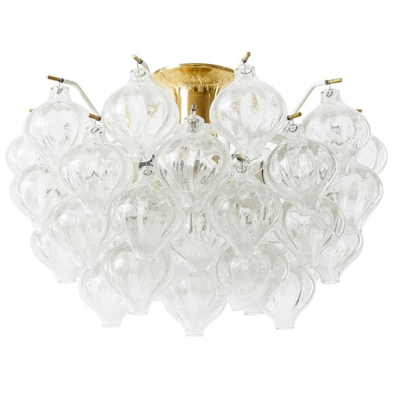 Six Kalmar 'Tulipan' Wall Lights Sconces, Glass Brass, 1970s For Sale 10