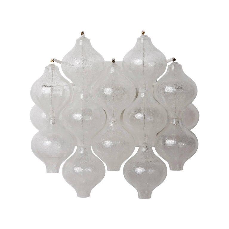 Austrian Six Kalmar 'Tulipan' Wall Lights Sconces, Glass Brass, 1970s For Sale