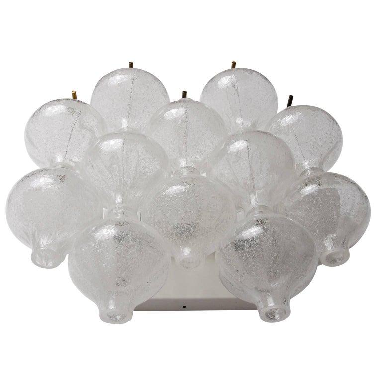 Enameled Six Kalmar 'Tulipan' Wall Lights Sconces, Glass Brass, 1970s For Sale
