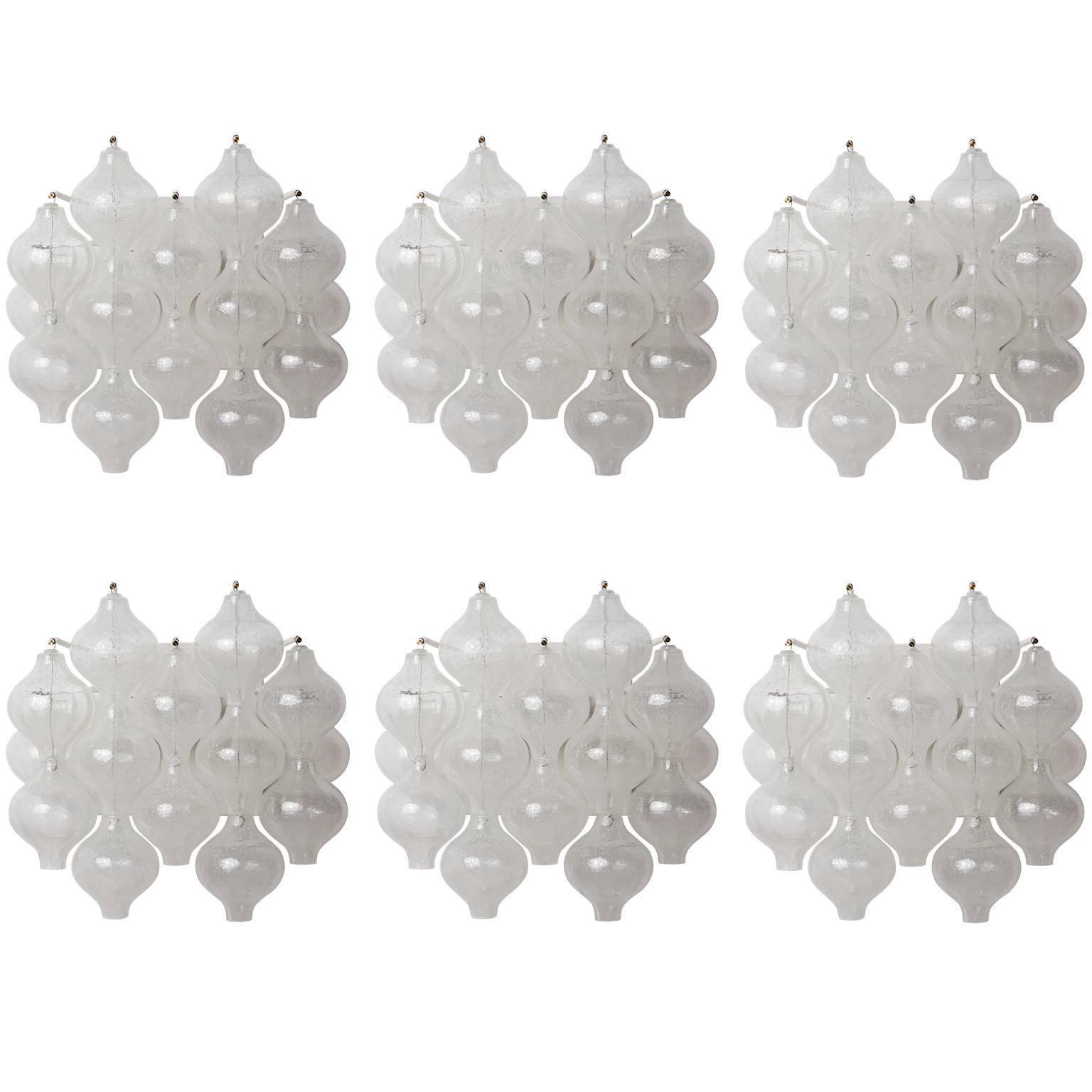 Six Kalmar 'Tulipan' Wall Lights Sconces, Glass Brass, 1970s