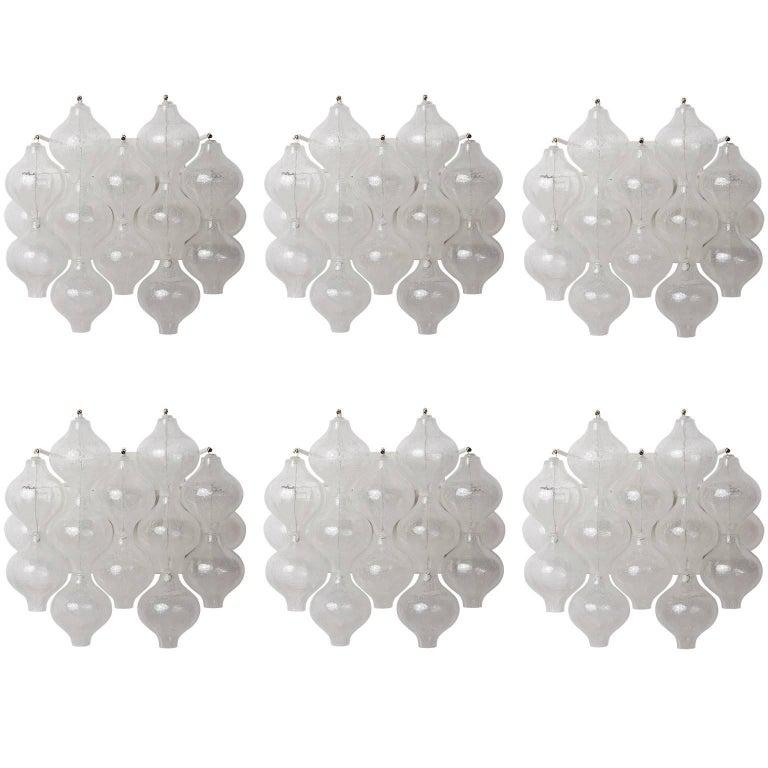 Six Kalmar 'Tulipan' Wall Lights Sconces, Glass Brass, 1970s For Sale
