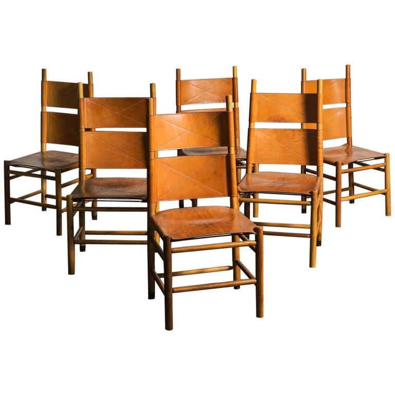 Set of Six Kentucky Chairs by Carlo Scarpa for Bernini For Sale