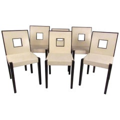 Set of Six Keyhole Back Modern Dining Chairs
