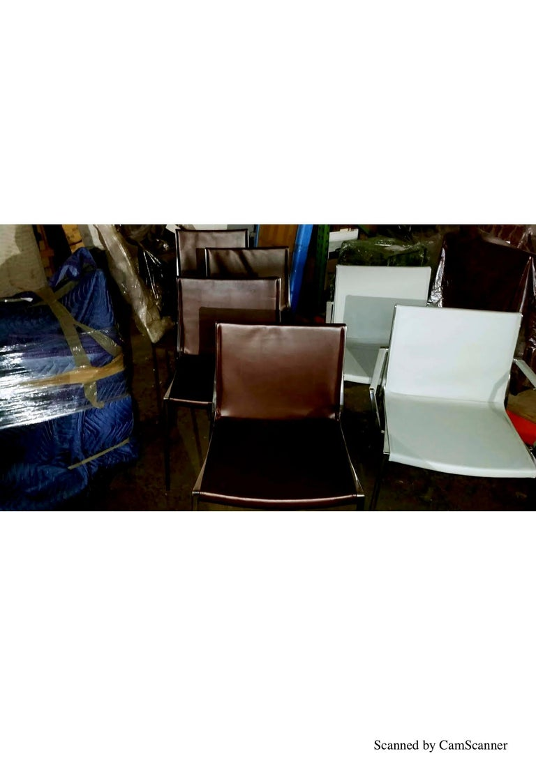 Set of Six KFF Unique Stackable Leather Chairs with Polished Aluminum Frame For Sale 3