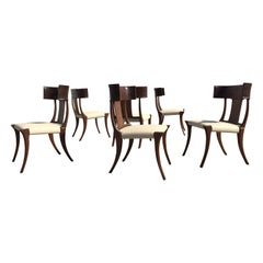 Set of Six Klismos Dining Chairs, Mahogany and Leather, in the Style Gibbings
