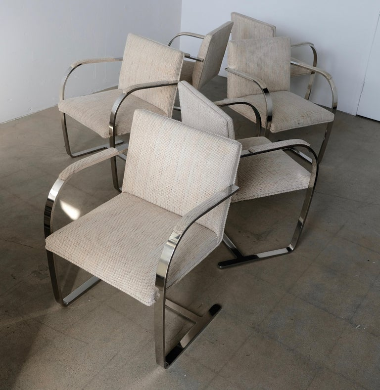 Set of Six Knoll Brno Flat Bar Dining Chairs Mies Van Der Rohe For Sale 4