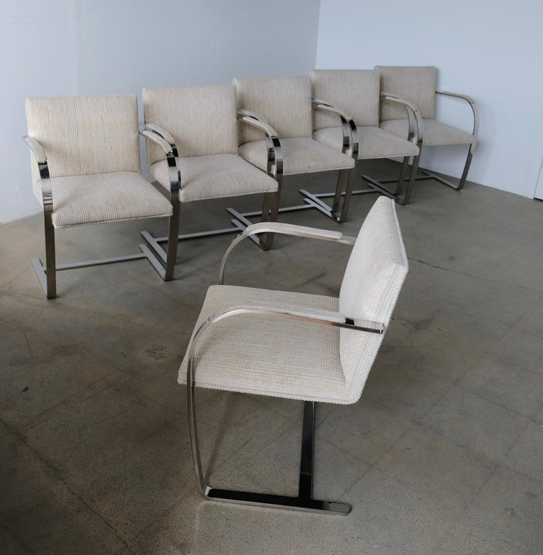 Mid-Century Modern Set of Six Knoll Brno Flat Bar Dining Chairs Mies Van Der Rohe For Sale