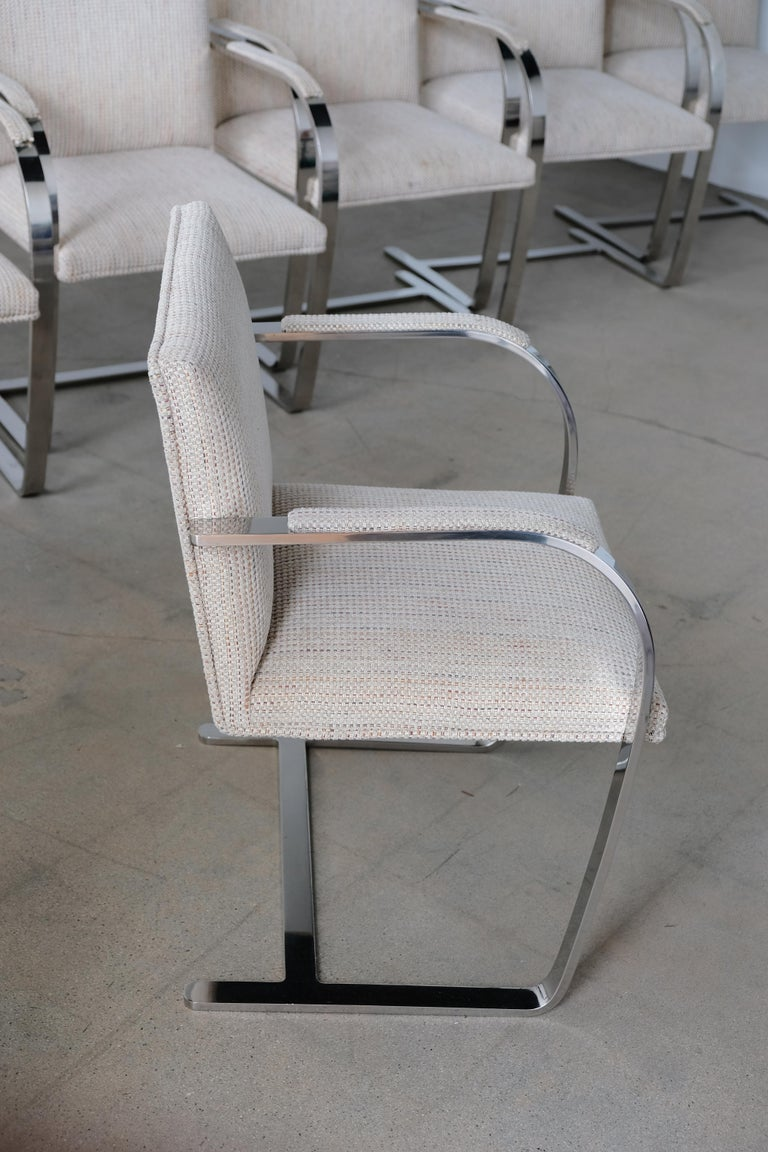 American Set of Six Knoll Brno Flat Bar Dining Chairs Mies Van Der Rohe For Sale