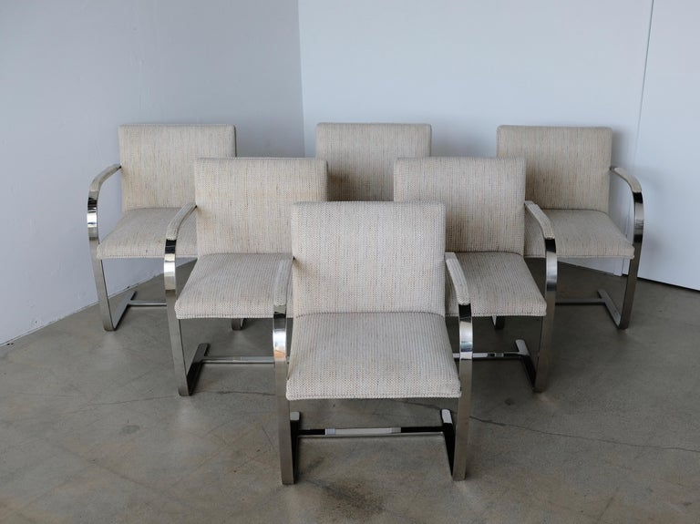Set of Six Knoll Brno Flat Bar Dining Chairs Mies Van Der Rohe In Good Condition For Sale In Palm Springs, CA