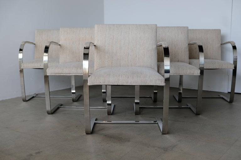 20th Century Set of Six Knoll Brno Flat Bar Dining Chairs Mies Van Der Rohe For Sale