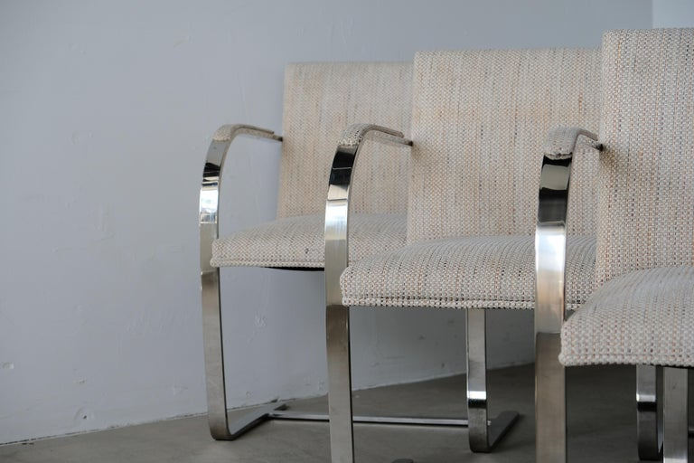 Stainless Steel Set of Six Knoll Brno Flat Bar Dining Chairs Mies Van Der Rohe For Sale