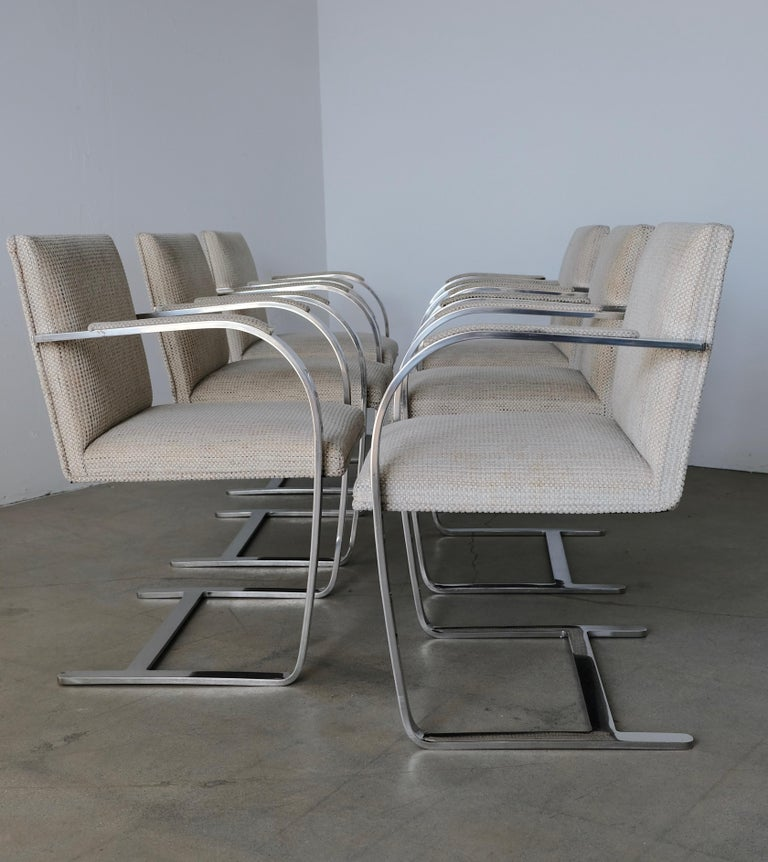 Set of Six Knoll Brno Flat Bar Dining Chairs Mies Van Der Rohe For Sale 1