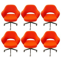 Set of Six Knoll Inc Saarinen Office Chairs on Casters, Executive Vintage