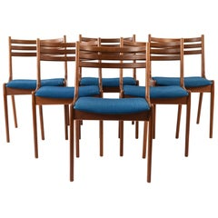 Set of Six K.S. Mobler Teak Dining Chairs Attributed to Kai Kristiansen