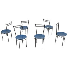 Set of Six Lacquered Metal Italian Mid-Century Modern Chairs by Cidue, 1980s