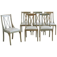Set of Six Lacquered Neoclassical Dining Chairs