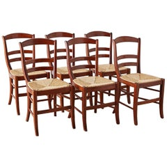 Set of Six Ladder-Back Rush Seat Dining Chairs