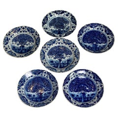 Set of Six Large Blue and White Delft Chargers Hand-Painted 18th-Century