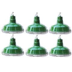 Set of Six Large Green Metal Barn Light Fixtures