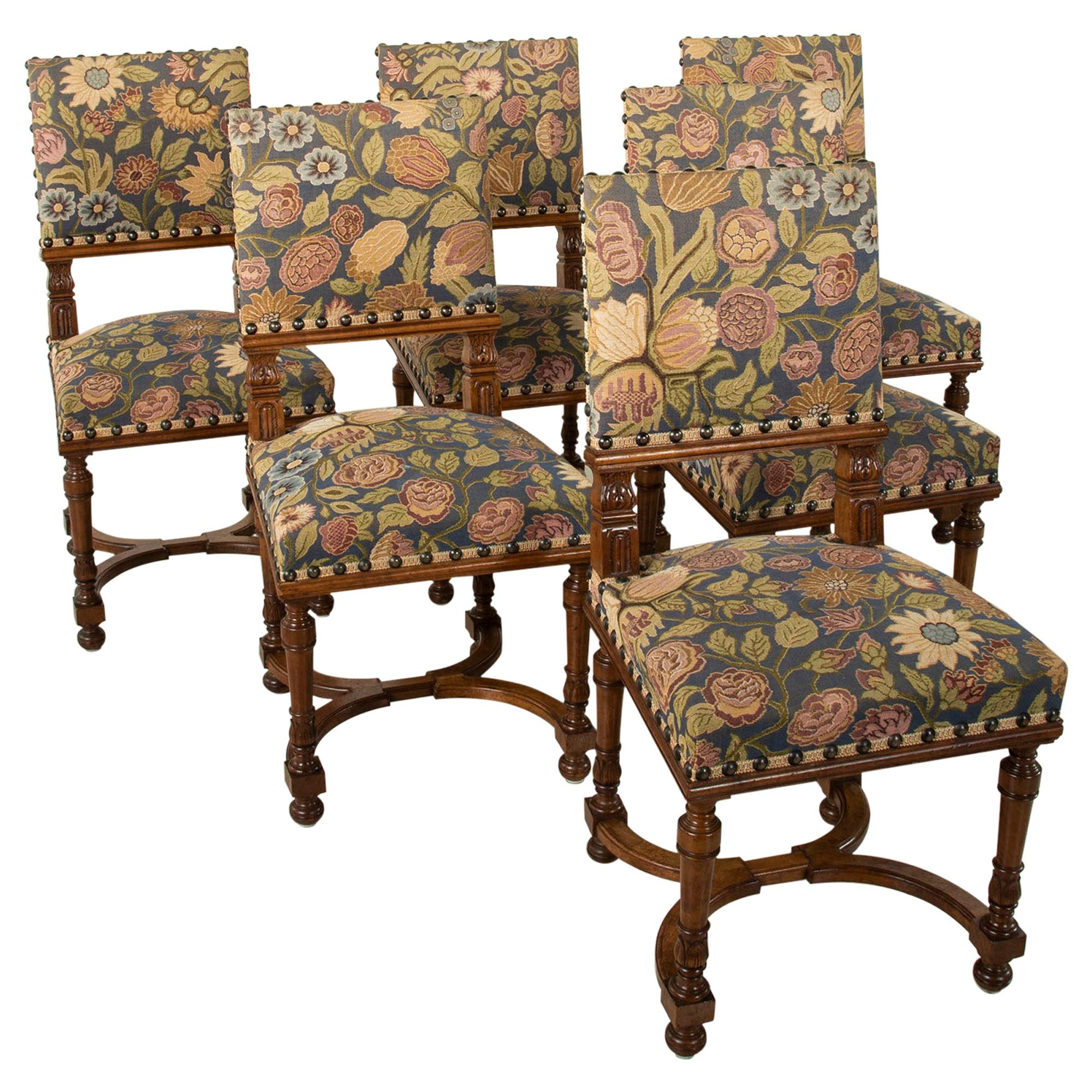 Set of Six Late 19th Century French Hand Carved Walnut Side Chairs Dining Chairs