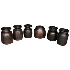 Set of Six Late 19th Century Hand Carved Wooden Pots from Naga Land