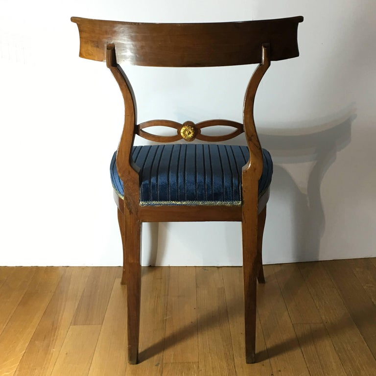 Velvet Set of Six Late 19th Century Italian Directoire Chairs in Solid Walnut Wood For Sale