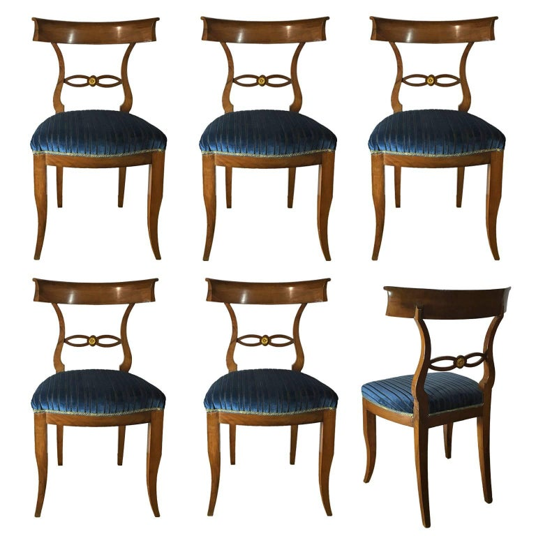 Set of Six Late 19th Century Italian Directoire Chairs in Solid Walnut Wood For Sale