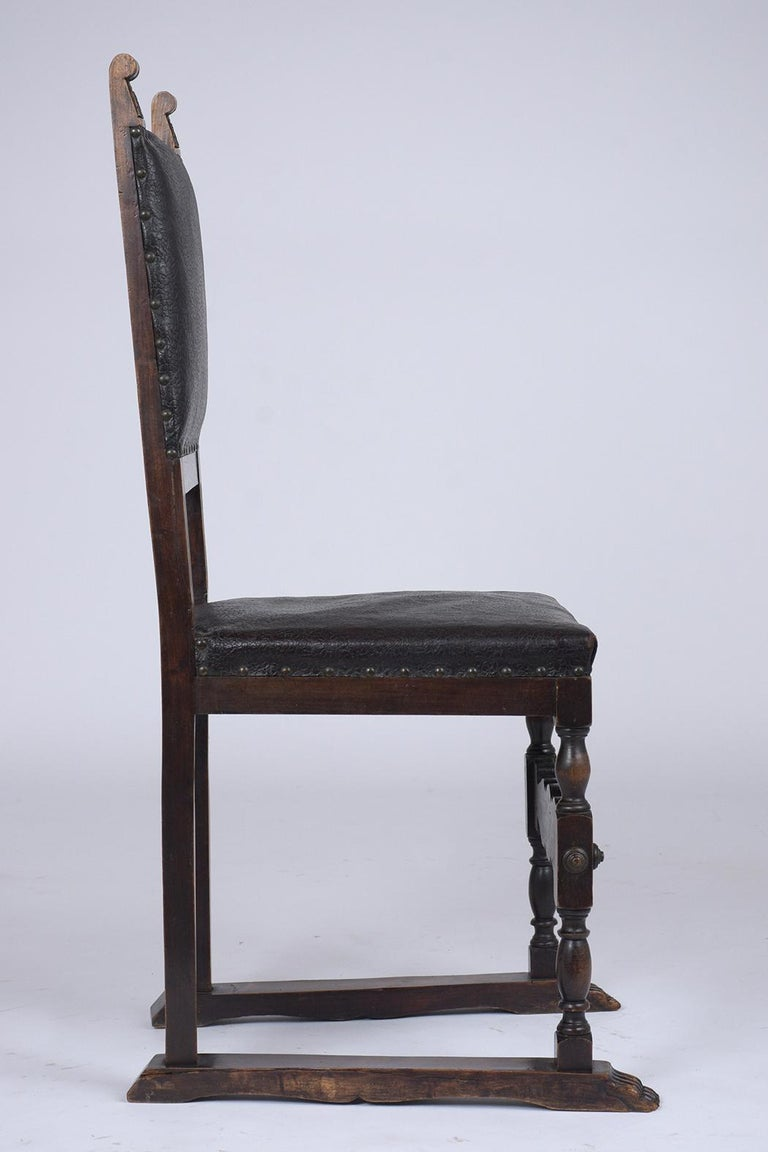 Set of 19th Century Leather Dining Chairs For Sale 3