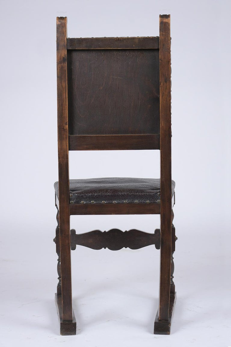 Set of 19th Century Leather Dining Chairs For Sale 4